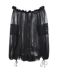 Maria Lucia Hohan - Black Liana V Neck Bell Sleeve Sheer Georgette Top - Lyst