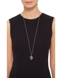"""Loquet London - Metallic White Gold Large Heart Locket On A 32"""" White Gold Chain - Lyst"""