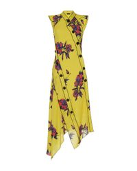 Proenza Schouler | Yellow Asymmetrical Button Down Floral Silk Dress | Lyst