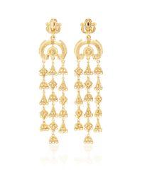 Oscar de la Renta | Metallic Ornate Charm Chandelier C Earring In Gold | Lyst