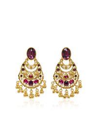Oscar de la Renta   Pink Crystal Filigree C Earring   Lyst