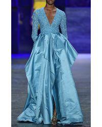 Naeem Khan | Blue Beaded V-neck Panel Gown | Lyst