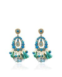 Ranjana Khan | Blue Tear Drop Earrings With Tassels | Lyst