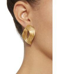 Oscar de la Renta | Metallic Twisted Ribbon Gold-tone Earrings | Lyst