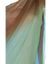 Paule Ka | Green Silk Ombré One Shoulder Draped Gown | Lyst