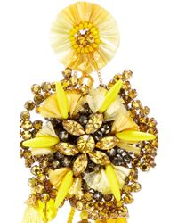 Ranjana Khan - Multicolor Yellow Flower Earrings With Vintage Coin Drops - Lyst
