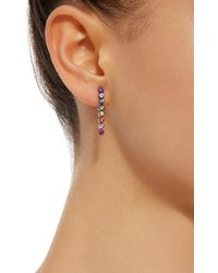 She Bee - Multicolor Rhodium-plated Rainbow Sapphire Drop Earrings - Lyst