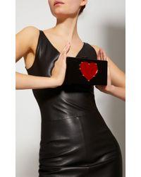 Edie Parker - Black Jean Studded Heart Clutch - Lyst