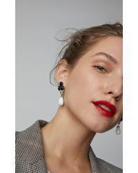 Dana Rebecca - 14k White Gold, Black Agate, Mother-of-pearl And Dolomite Drop Earrings - Lyst