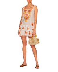 Juliet Dunn - White Embroidered Cotton Mini Dress - Lyst