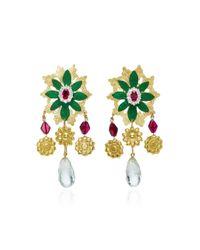Valentina Rosenthal - Chilco Green Quartz, Garnet And Zircon Earrings - Lyst
