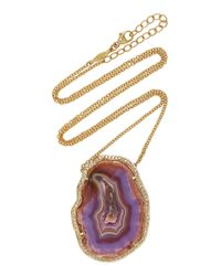 Jacquie Aiche - Pink Rose Gold Pave Diamond Freeform Laguna Agate Necklace - Lyst