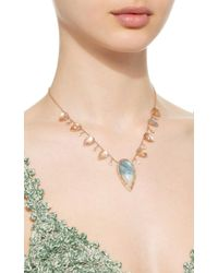 Jacquie Aiche - Pink Pave Aquamarine Teardrop 8 Diamond 8 Moonstone Teardrop Necklace - Lyst