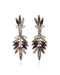 Nicole Romano - Black Multicolored Feather Crystal Earrings - Lyst