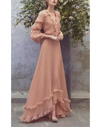 Luisa Beccaria - Pink Flounce Full Length Dress - Lyst