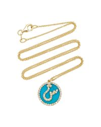 Names by Noush   Blue Treasure Disk Arabic Initial Necklace With Turquoise Gemstone   Lyst