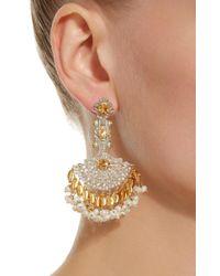 Sanjay Kasliwal - Yellow 14k Gold Indorussian Multi-stone Fan Earrings - Lyst