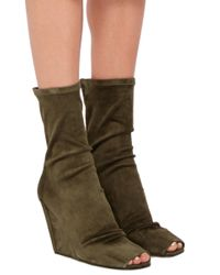 Rick Owens - Brown Green Suede Wedge Ankle Boots With Open Toe - Lyst