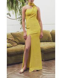 Safiyaa - Yellow Ophelia Draped Scarf Neck Dress - Lyst
