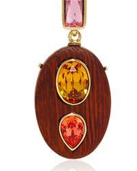 Oscar de la Renta | Brown Crystal & Wood Earrings | Lyst