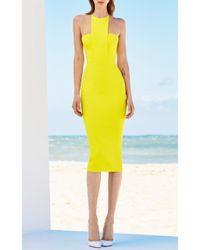 Alex Perry | Yellow Piper Stretch Bib Lady Dress | Lyst