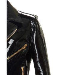 Balmain - Black Patent Leather Biker Jacket - Lyst