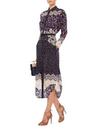 Saloni - Black Marcel Dahliaprint Dress - Lyst
