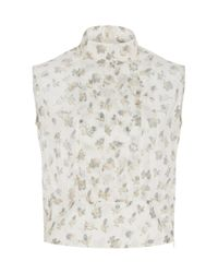 Cacharel - Multicolor Silk Printed Ruffle Front Top - Lyst