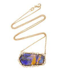 Kimberly Mcdonald - Metallic One-of-a-kind Boulder Opal Pendant With Signature Irregular Diamonds Set In 18k Yellow Gold - Lyst