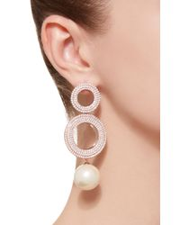 Joanna Laura Constantine - Metallic Grommets Gold-plated Brass, Cubic Zirconia, And Pearl Earrings - Lyst