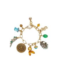Lulu Frost - Metallic M'o Exclusive Vintage Victorian Button And Crystal Charm Bracelet - Lyst