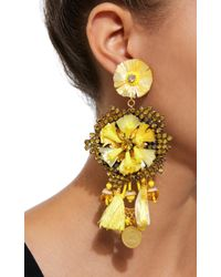 Ranjana Khan - Yellow 14k Gold-plated, Raffia, Leather, Crystals, And Antique Gold Coins Drop Earrings - Lyst