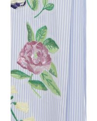 Blumarine - Blue Striped Cotton Wide Leg Trouser With Floral Embroidery - Lyst