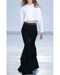 Ellery - Blue Rockface Wide Flare Pant With Overlay - Lyst