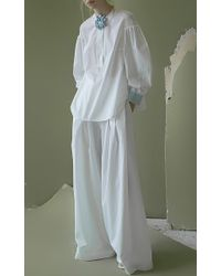 Vika Gazinskaya - White Wide-leg Cotton Pants - Lyst