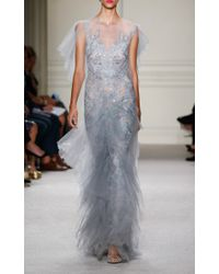 Marchesa - Blue Tulle Gown With Tiered Ruffle Skirt - Lyst