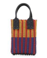 Truss - Yellow Micro Tube Weave Tote With Leather Handle - Lyst