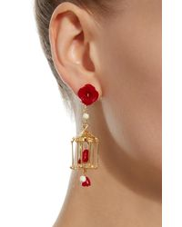 Of Rare Origin - Red Pagoda 18k Yellow Gold Vermeil, Coral And White Agate Earrings - Lyst