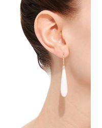 Susan Foster - Metallic Yellow Gold White Agate Drop Earrings - Lyst
