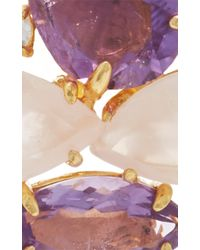 Bounkit - Metallic Brass 14k Gold Plated Rose Quartz, Amethyst, And Clear Quartz Earrings - Lyst