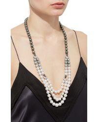 Yoko London - 18k White Gold Cultured Pearl Diamond Necklace - Lyst