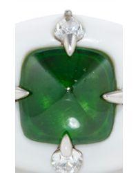 Arunashi - Green 18k White Gold, Demantoid And Corian Ring - Lyst