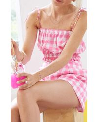 MDS Stripes - Pink Pleated Plaid Short - Lyst