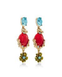 Oscar de la Renta - Blue Resin And Crystal Bouquet C Earring - Lyst