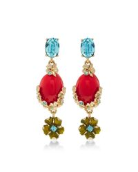 Oscar de la Renta | Blue Resin And Crystal Bouquet C Earring | Lyst