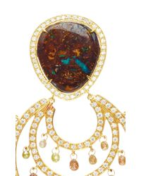 Nina Runsdorf - Metallic Yahwah Opal And Multi Color Rough Diamond Briolette Hoop Earrings - Lyst