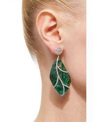Nina Runsdorf | Green 18karat White Gold Emerald and Diamond Earrings | Lyst