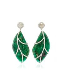 Nina Runsdorf - Green 18karat White Gold Emerald and Diamond Earrings - Lyst