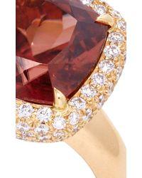 Pamela Huizenga - Metallic Peach Zircon Ring Set In Diamond Nest - Lyst