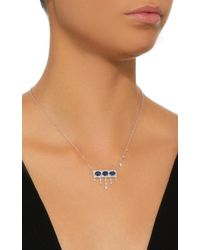 Meira T | 14k White Gold, Blue Sapphire And Diamond Necklace | Lyst
